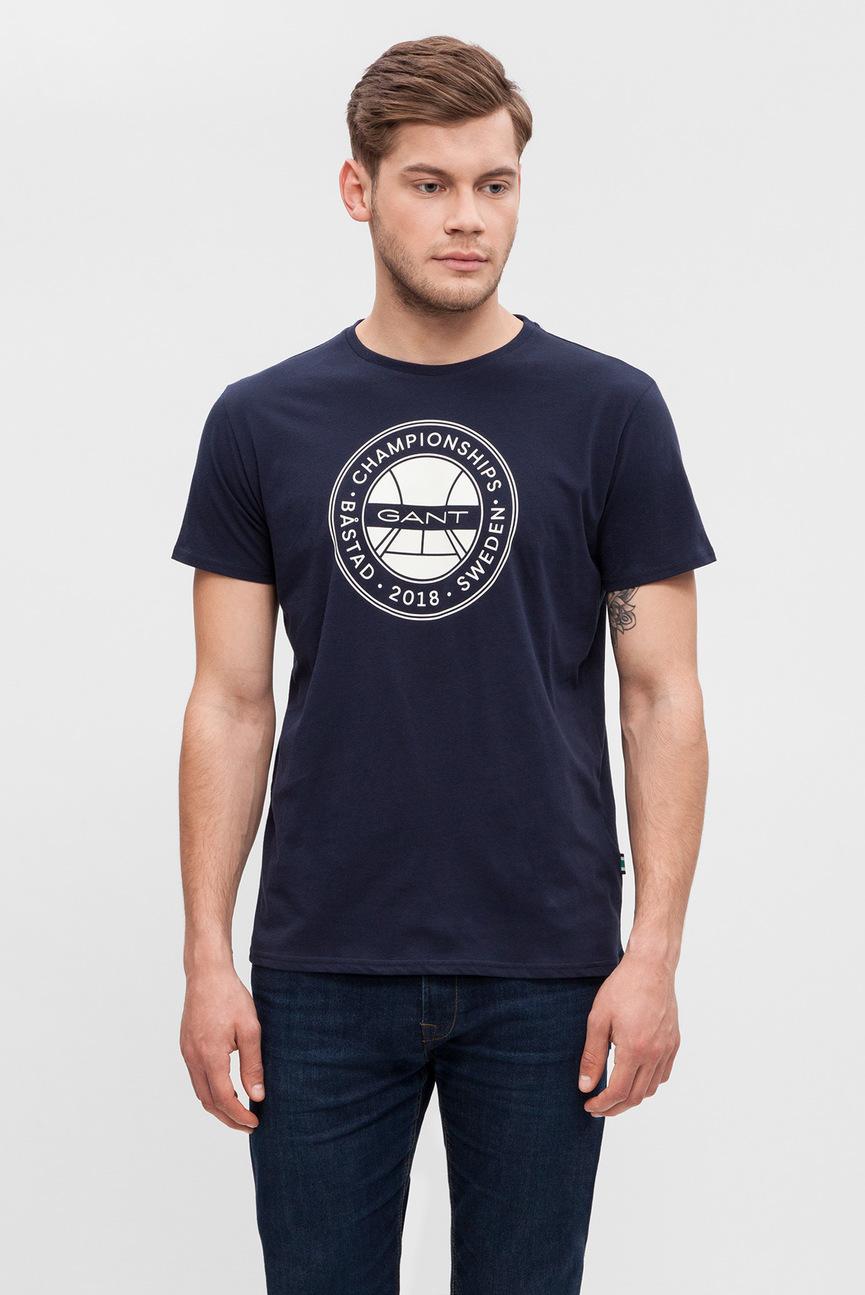 Мужская темно-синяя футболка с принтом