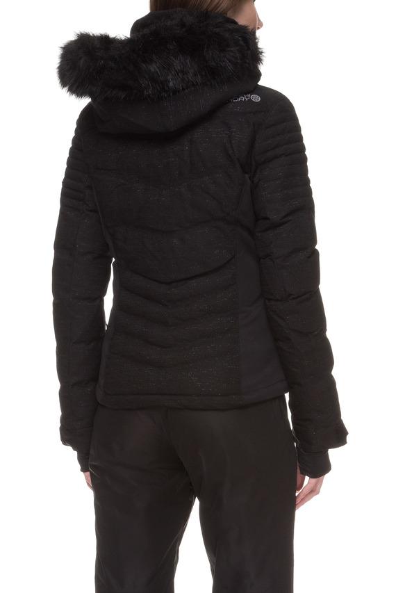 Женская черная лыжная куртка с принтом Luxe Snow
