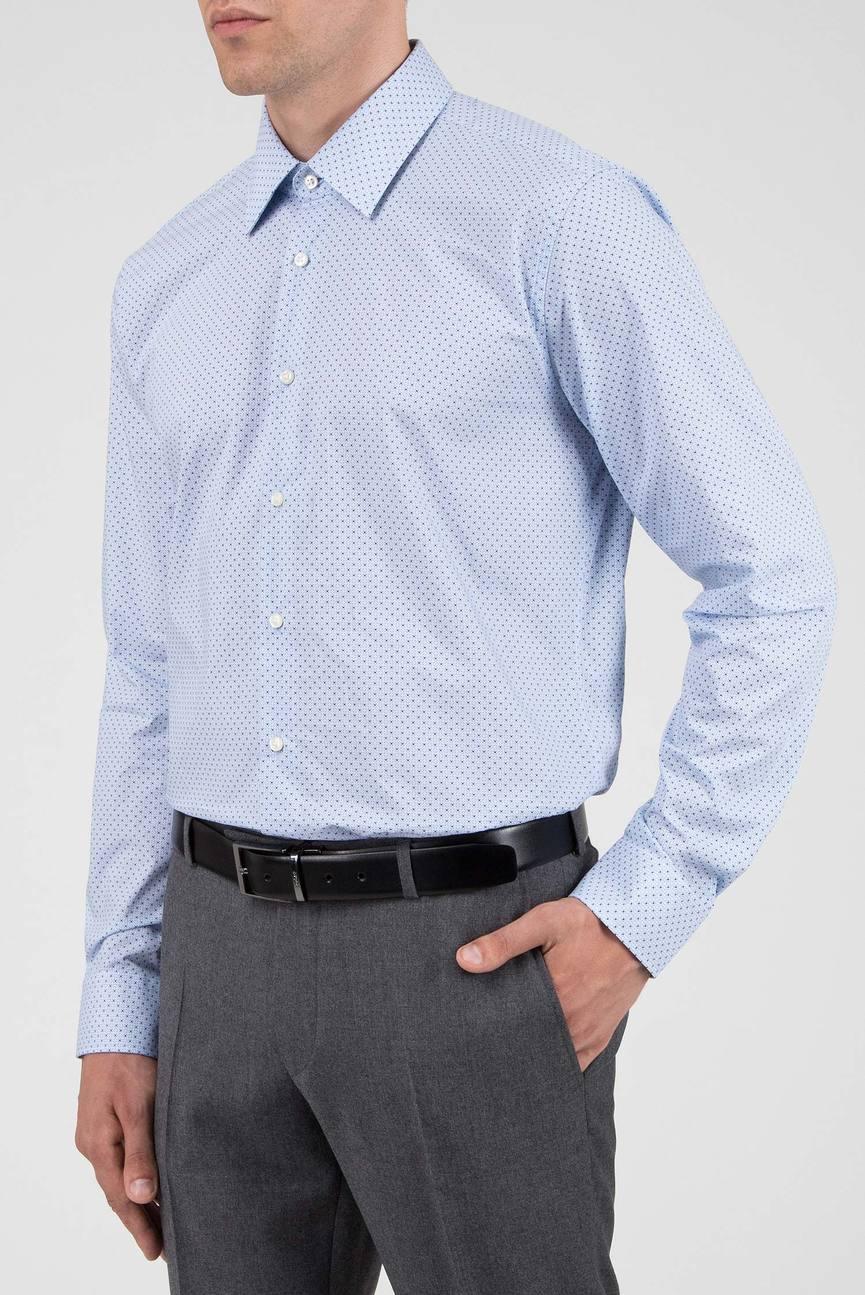Мужская голубая рубашка с узором