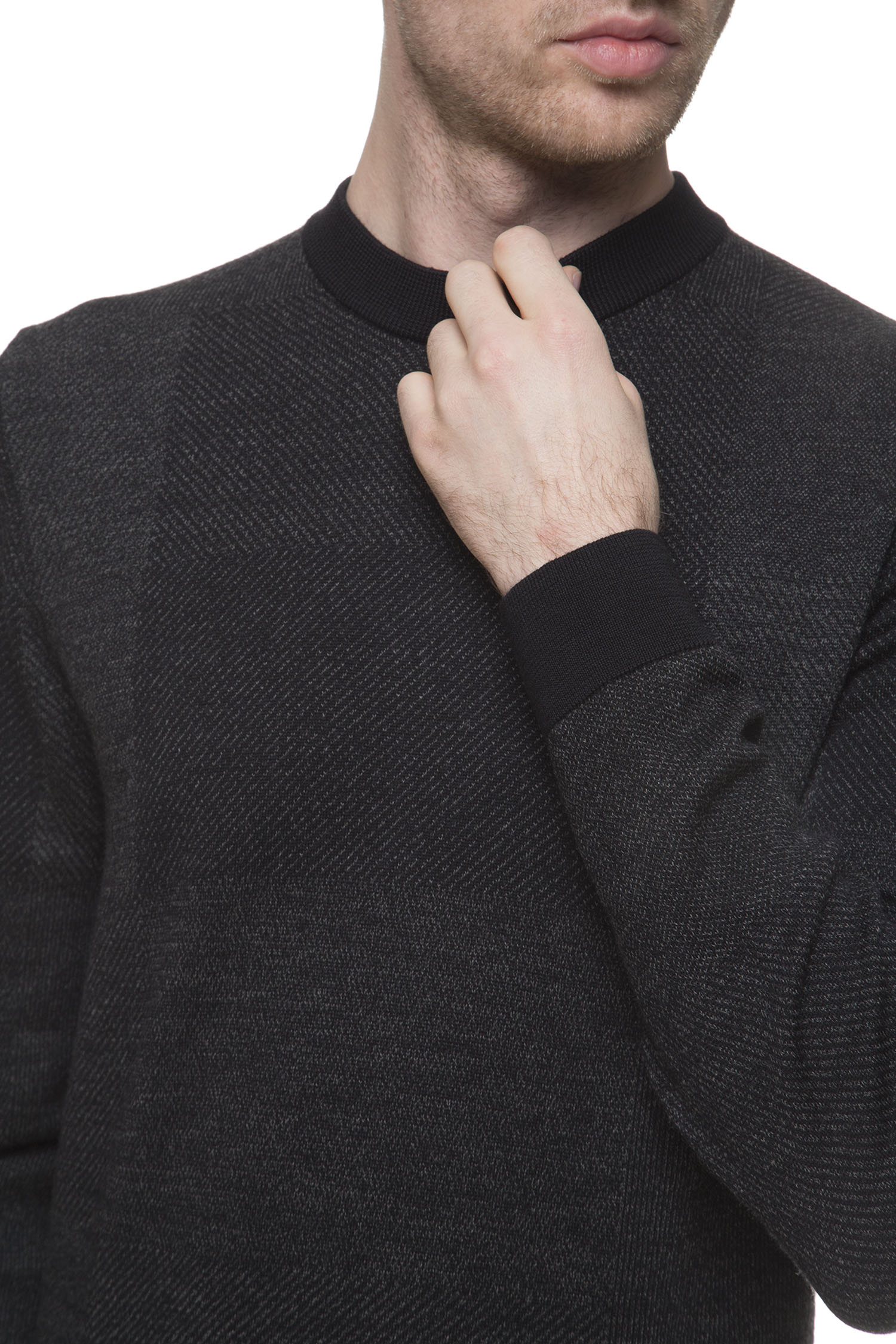 Мужской черный шерстяной джемпер BOSS