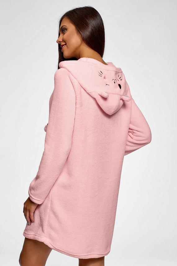 Женское розовое платье-худи