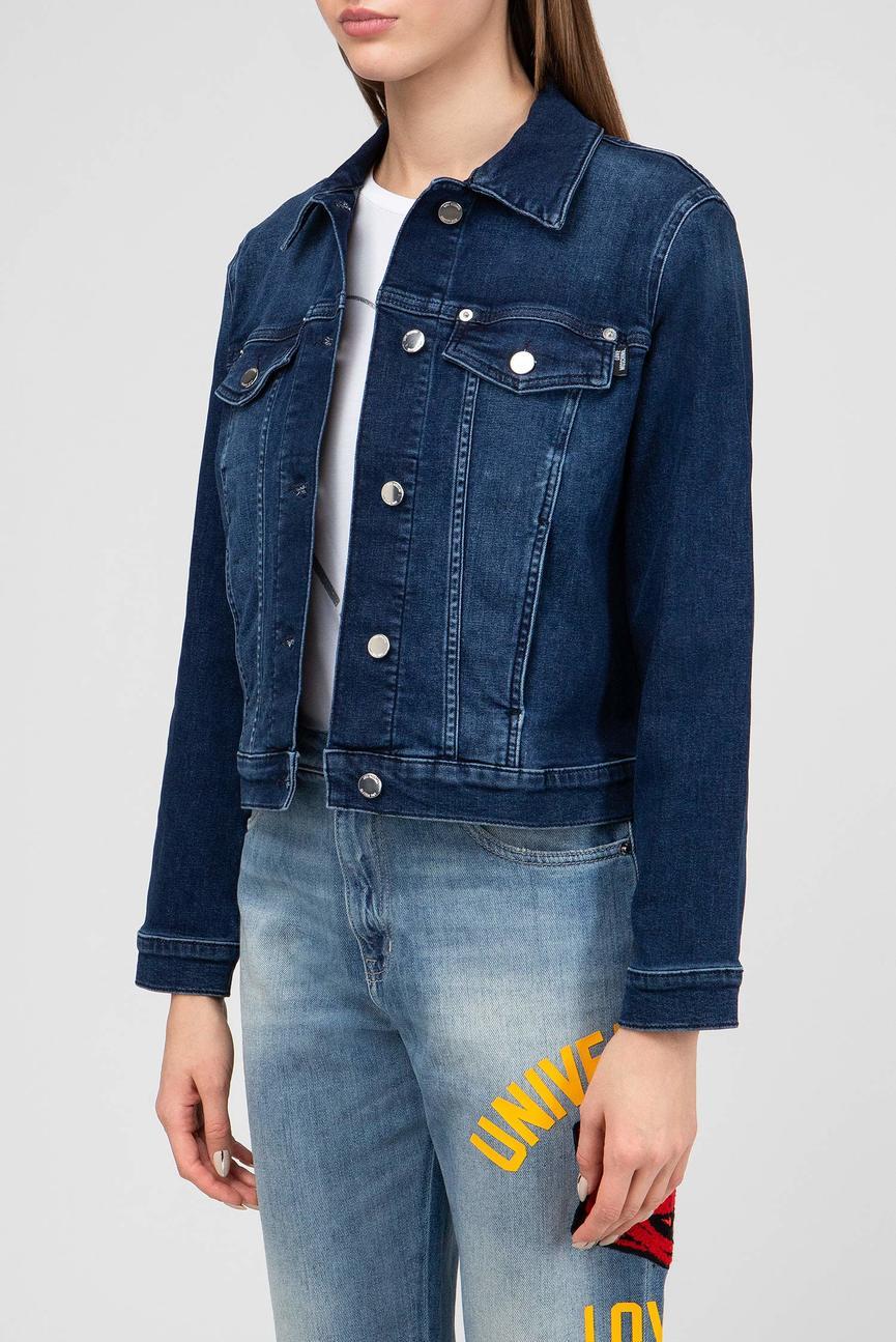 Женская темно-синяя джинсовая куртка