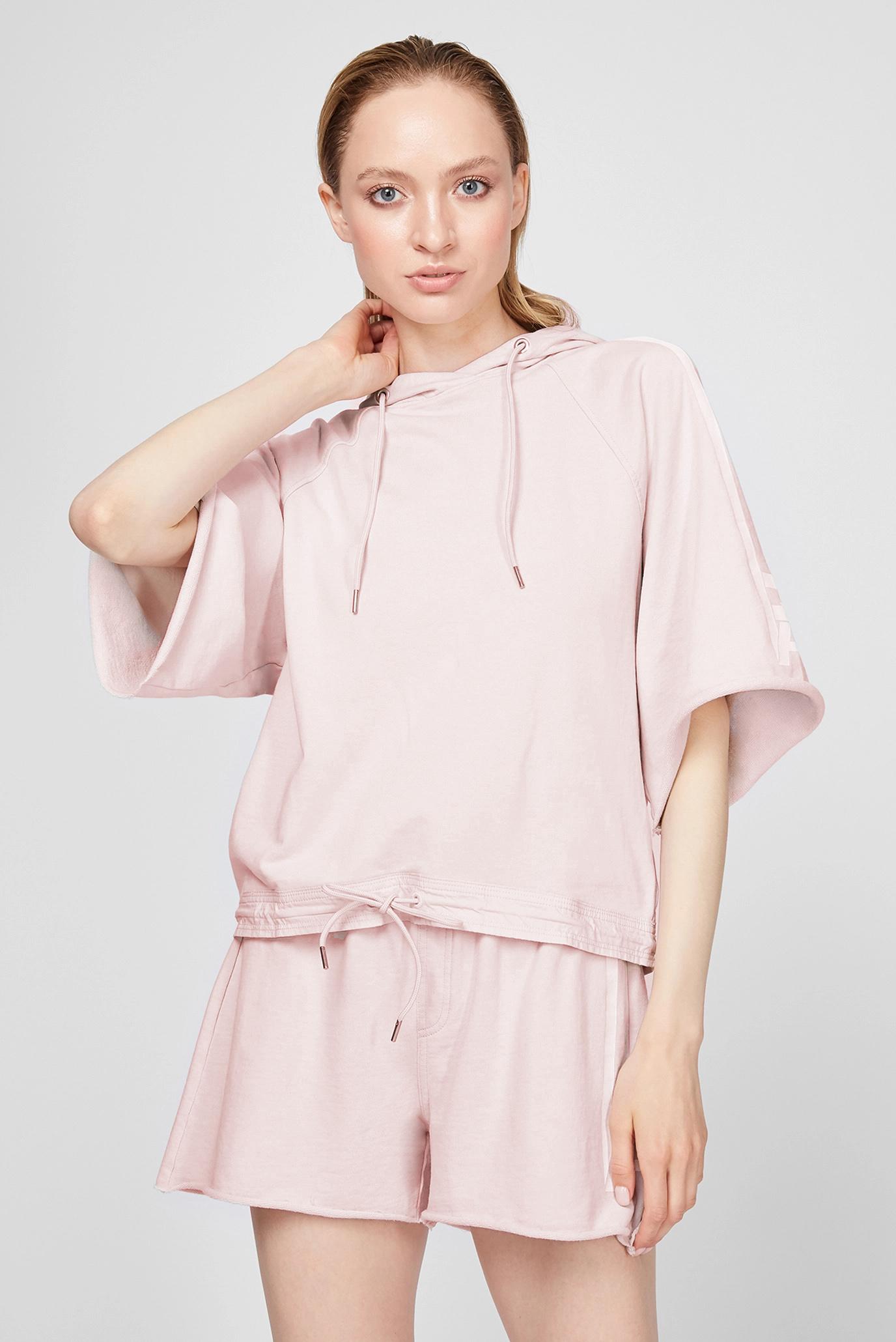Женское розовое худи Stripe RAW print cropped hoodie 1