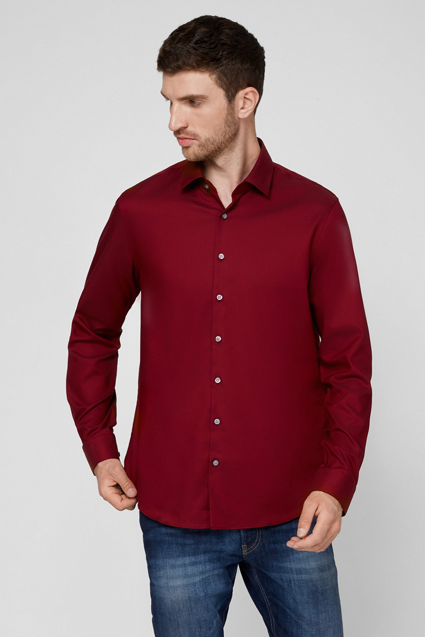 Мужская бордовая рубашка STRUCTURE EASY CARE SLIM 1
