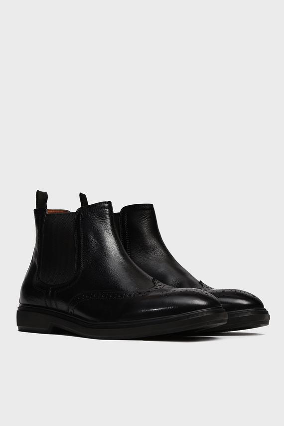 Мужские черные кожаные челси Flushing
