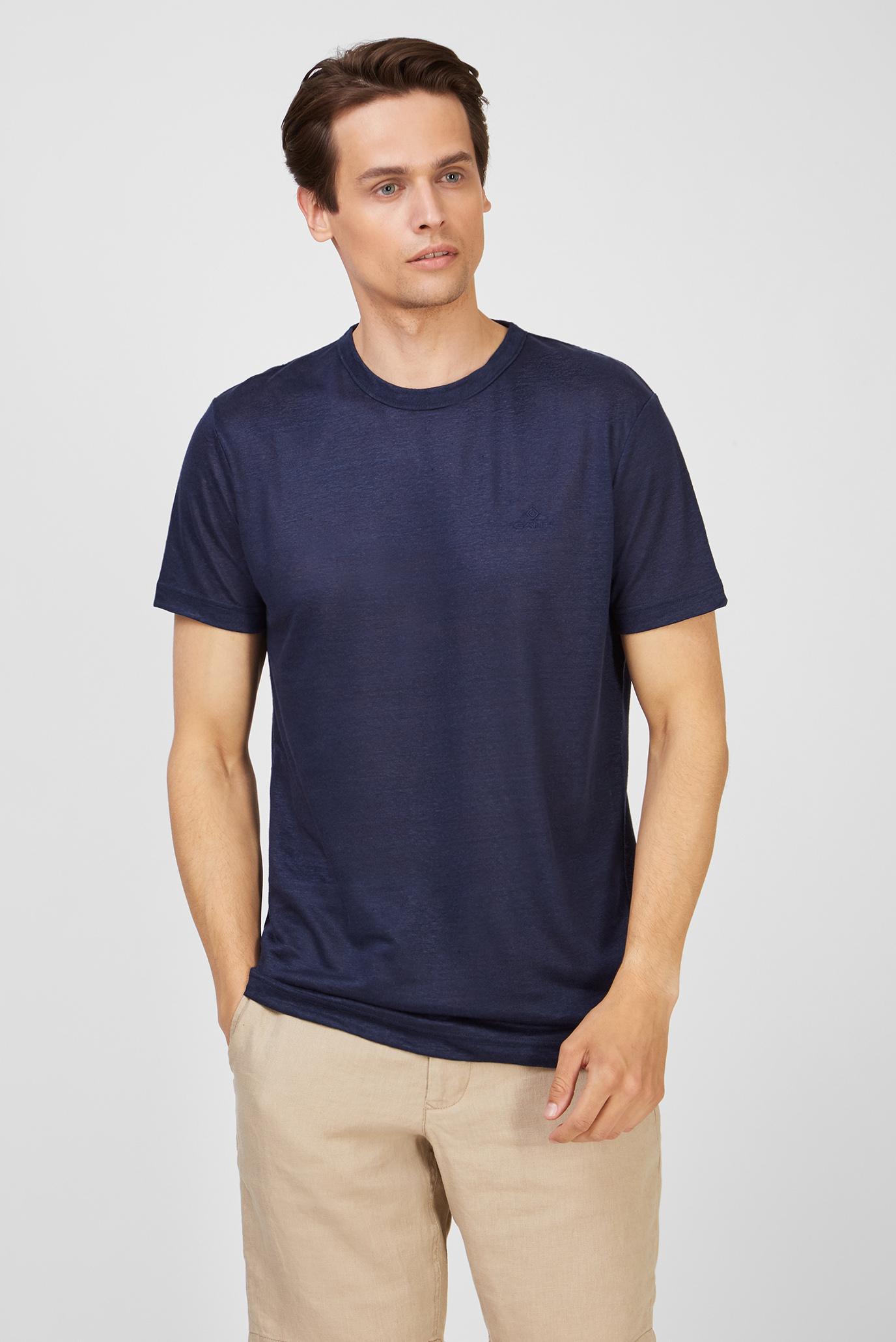 Чоловіча темно-синя лляна футболка LINEN 1