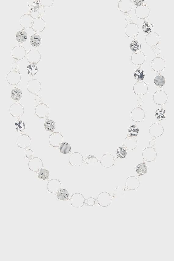 Женское серебристое ожерелье CIRCLE LINKS LAYERED