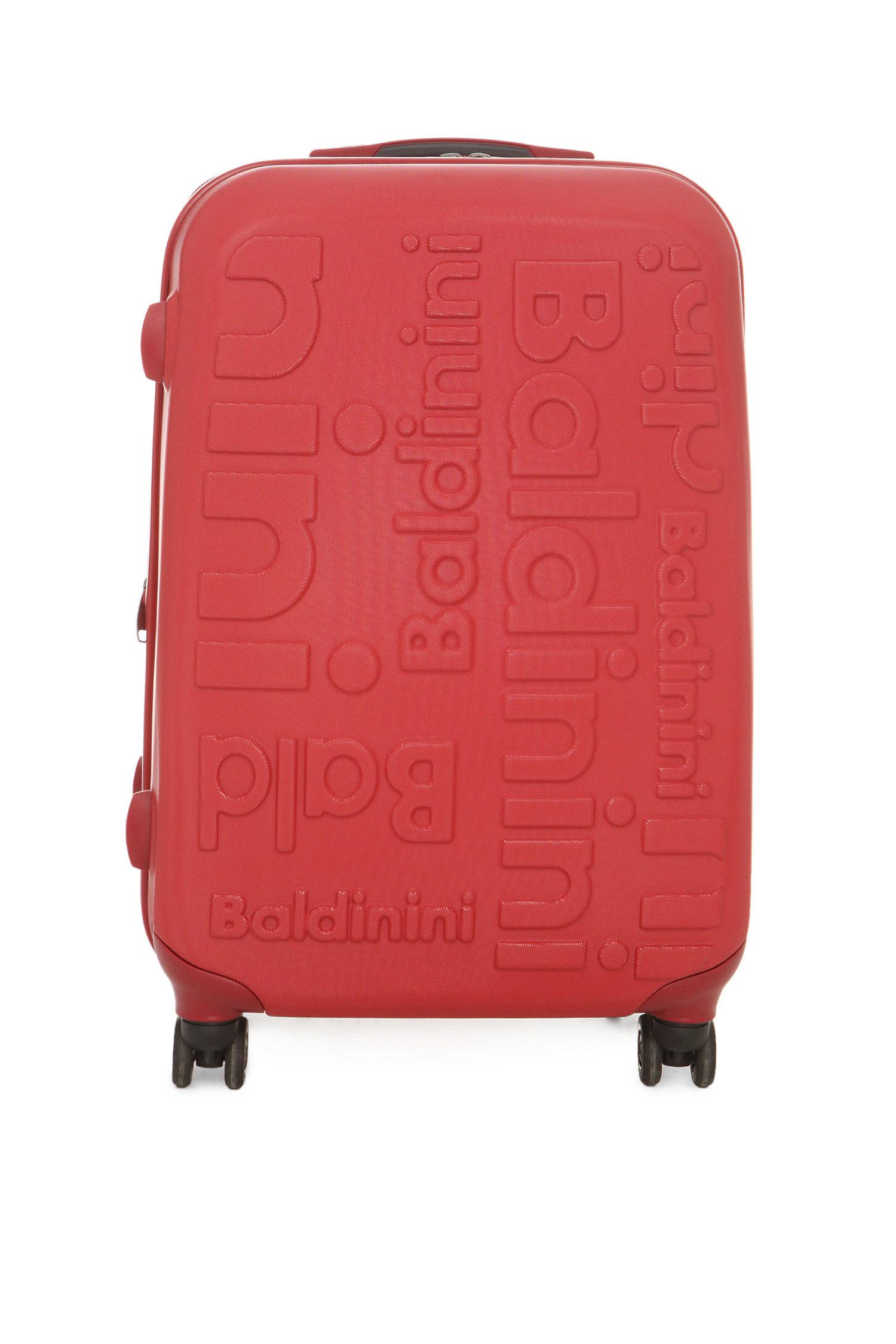 Красный пластиковый чемодан на колесиках Baldinini