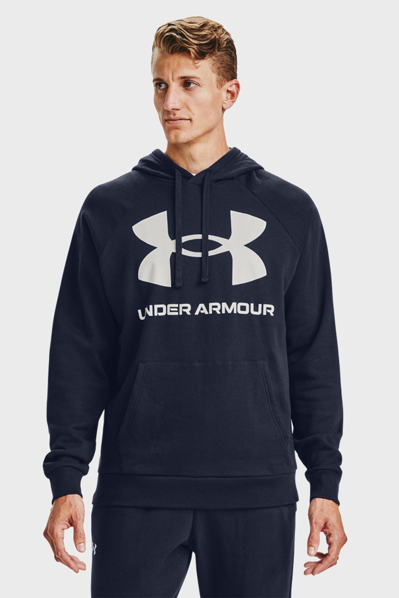 Мужское темно-синее худи UA Rival Fleece Big Logo HD 1
