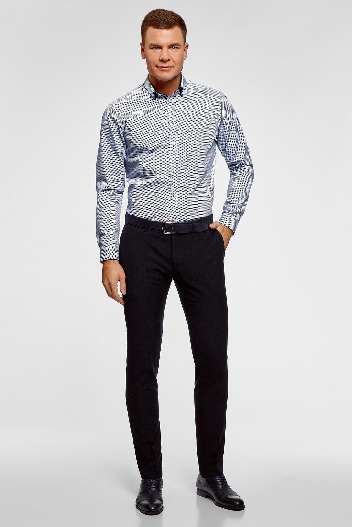 Мужская синяя рубашка с узором Oodji