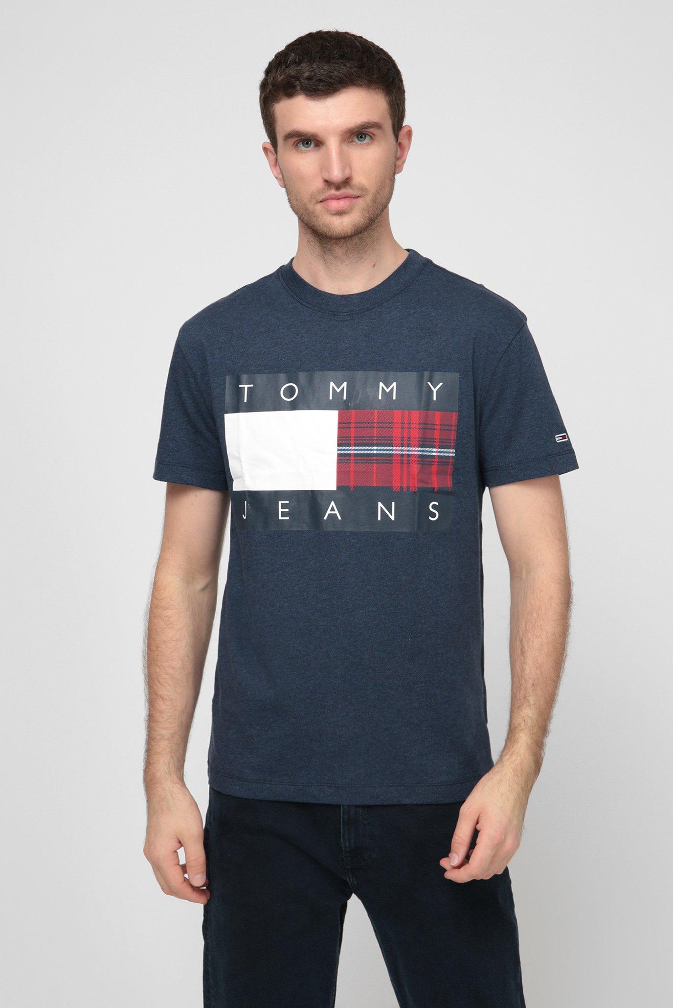 Мужская синяя футболка TJM PLAID CENTRE FLAG TEE 1