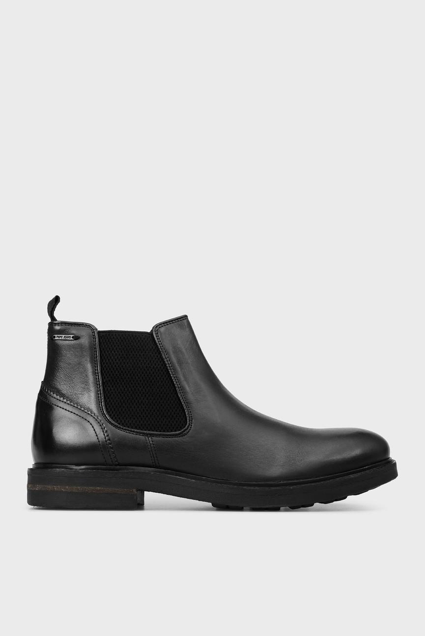 Мужские черные кожаные челси