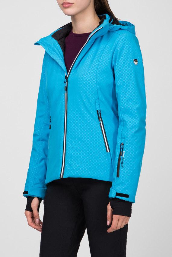 Женская голубая пуховая лыжная куртка