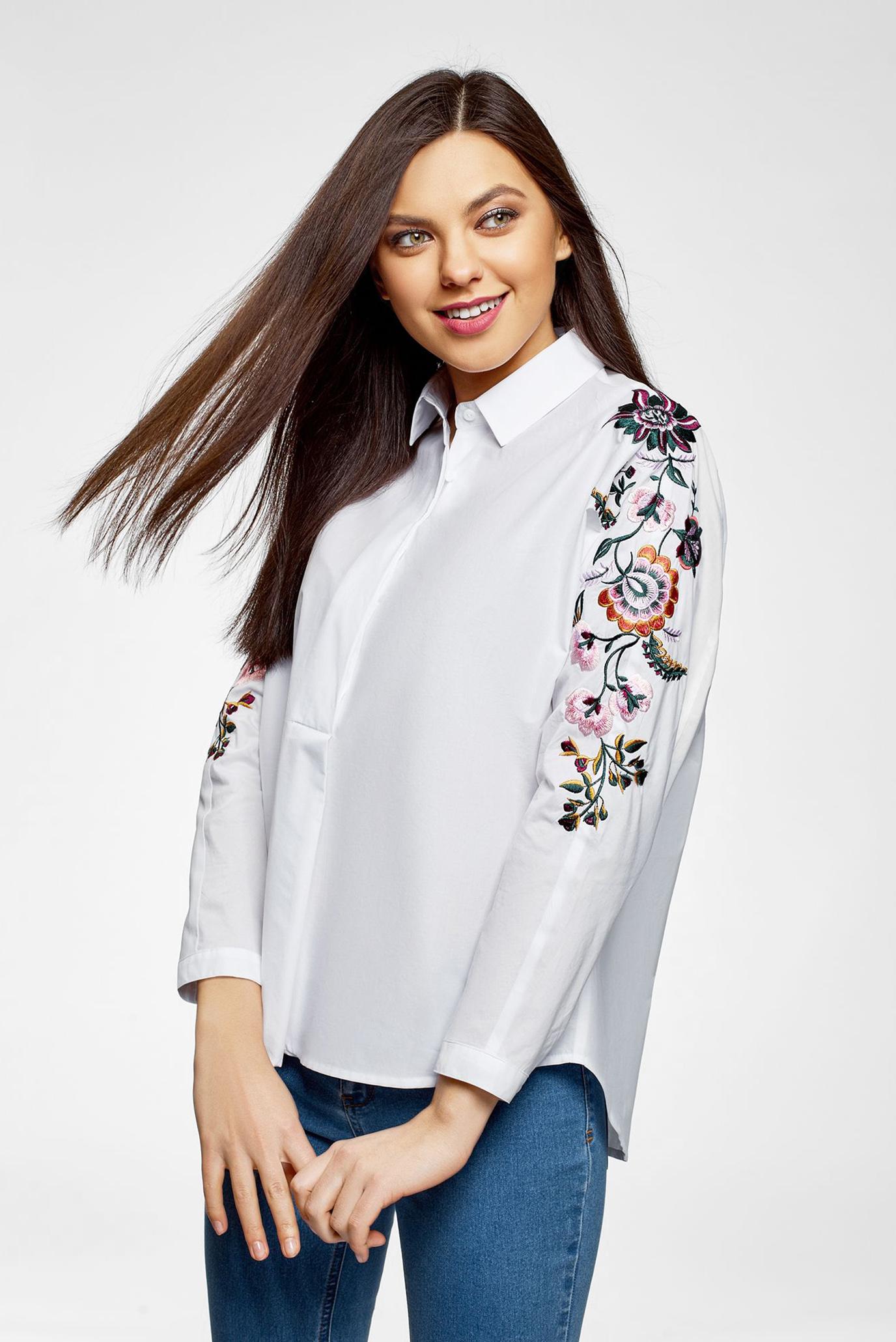 0d6c50a21824f56 Купить Женская белая рубашка с вышивкой Oodji Oodji 13L05001/13175N/1000N –  Киев, Украина. Цены в интернет ...