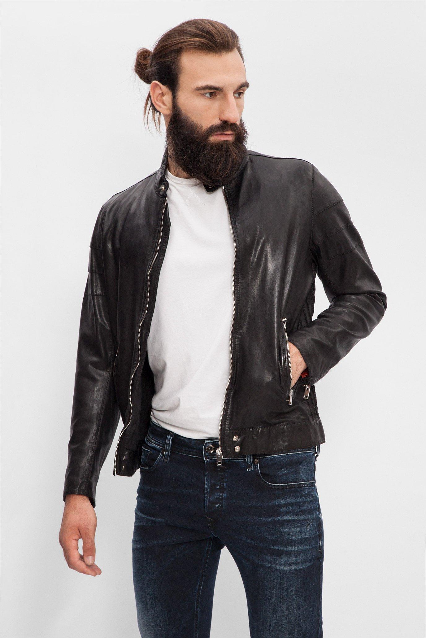 Купить Мужская черная кожаная куртка Diesel Diesel 00S11D 0DAMJ – Киев 2b5772e6be94e