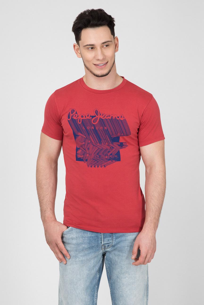 Мужская красная футболка с принтом LUCAS