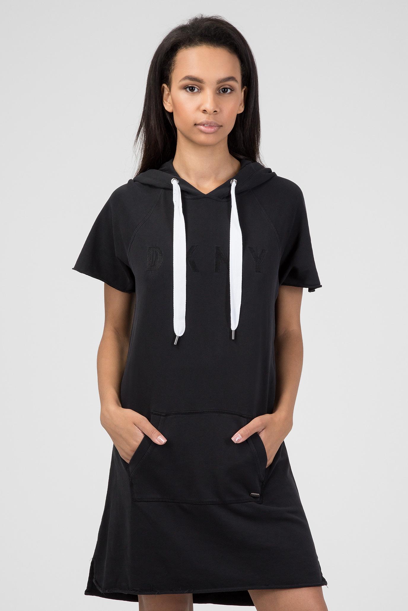 Купить Женское черное платье-худи DKNY DKNY DP8D4037 – Киев, Украина. Цены  в интернет магазине MD Fashion 3edae846ad8