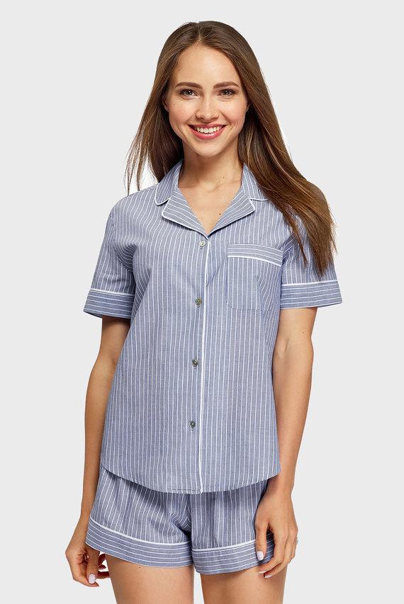 Женская синяя ночная рубашка