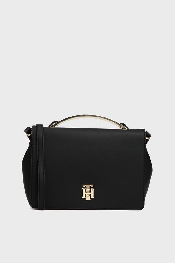 Женская черная сумка через плечо TH LOCK SATCHEL