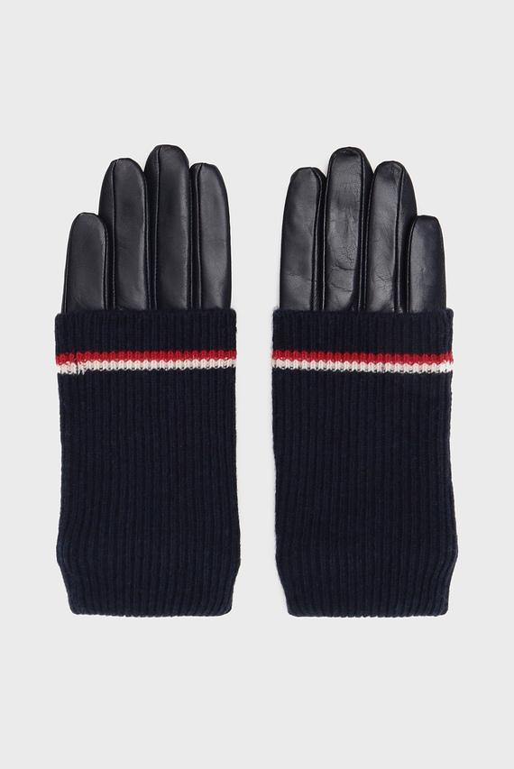 Женские темно-синие кожаные перчатки LONG CUFF