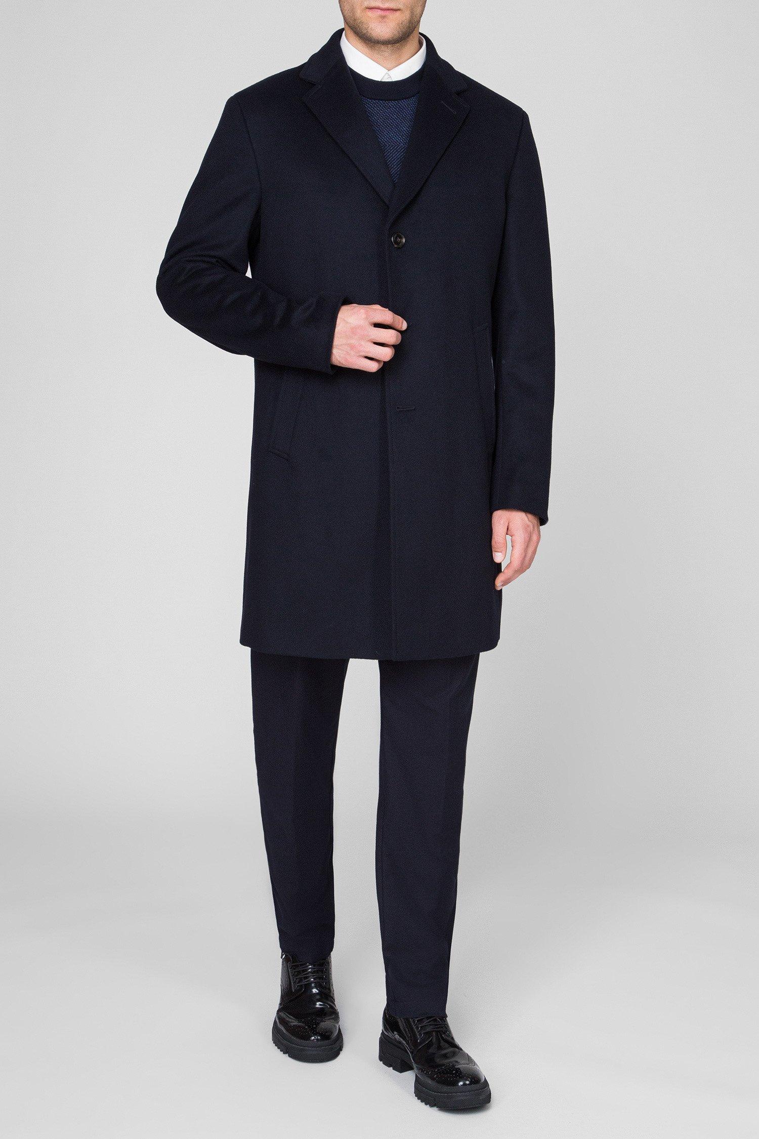 Мужское темно-синее шерстяное пальто Joop