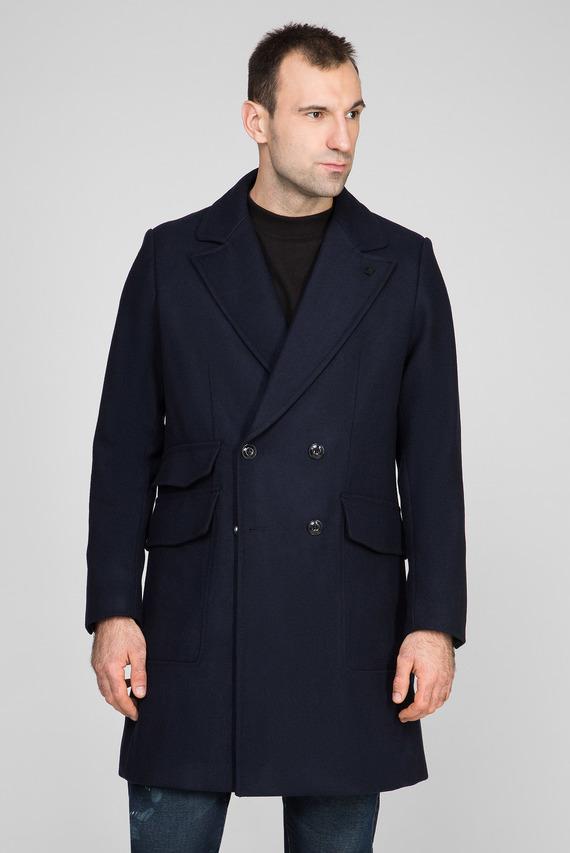 Мужское синее пальто Double breasted paletot