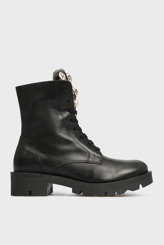 Женские черные кожаные ботинки KIRUNA
