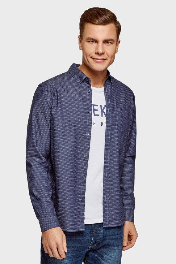 Мужская джинсовая рубашка в горошек