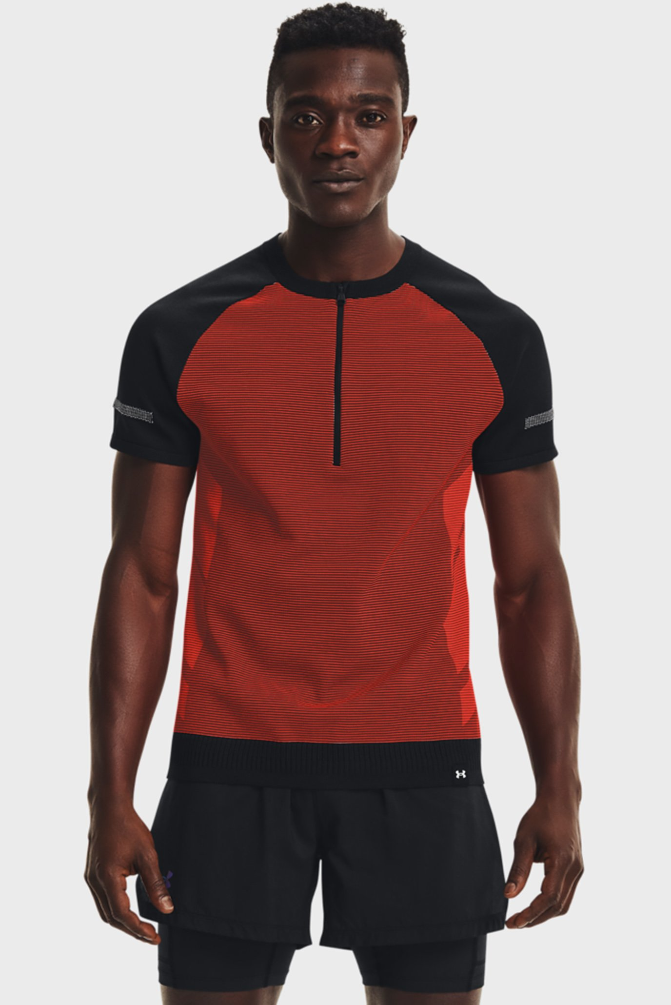 Мужская красная футболка UA IntelliKnit Half Zip SS 1