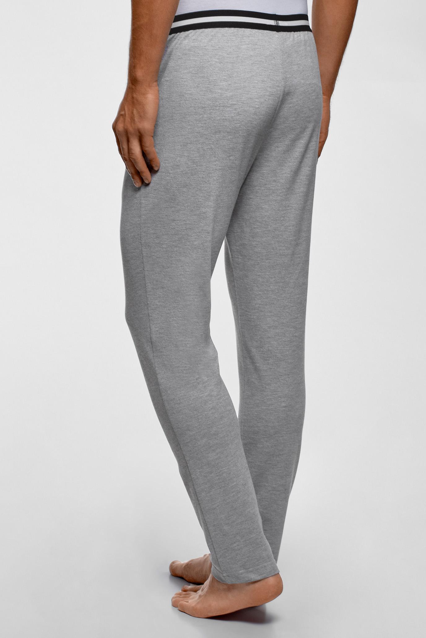 Мужские серые домашние брюки Oodji