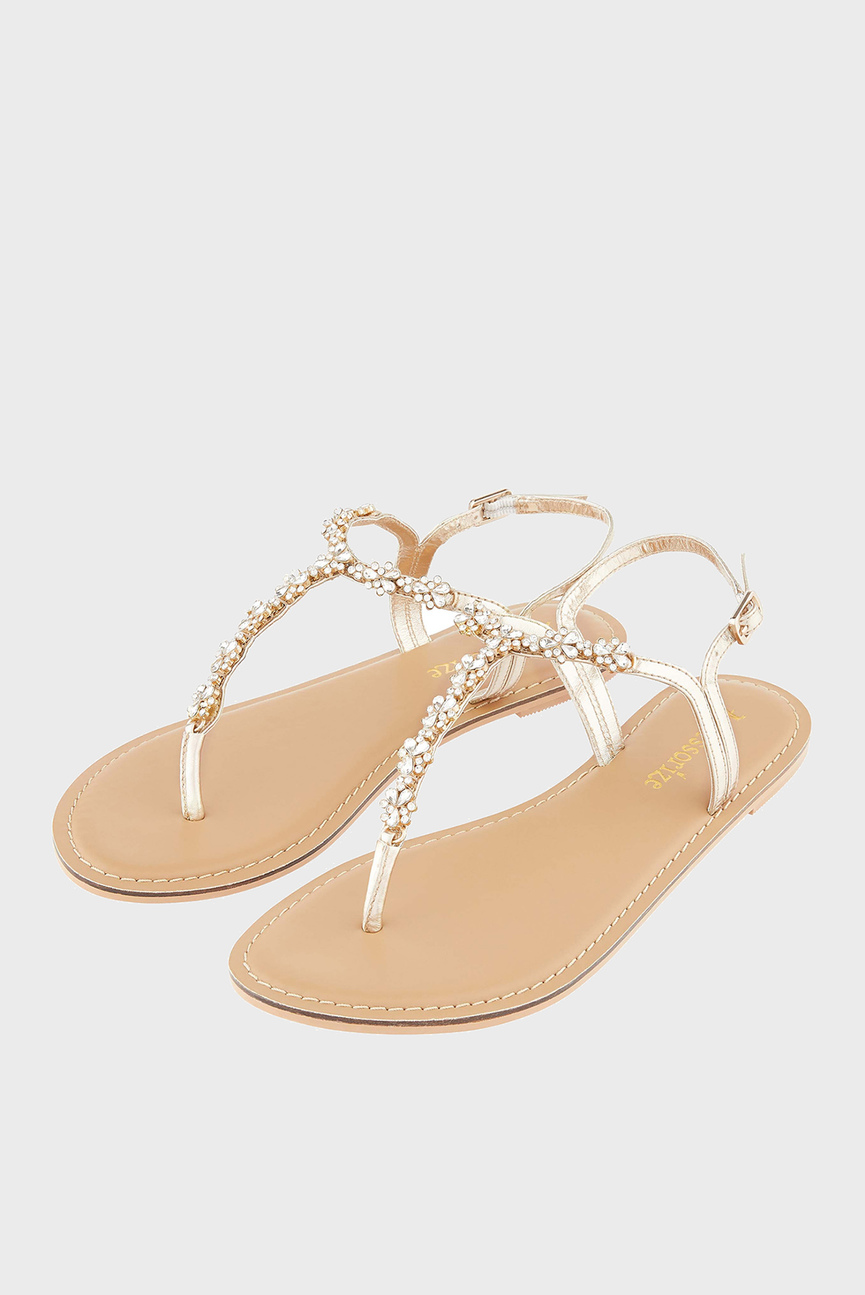 Женские золотистые сандалии Reno Embellished San