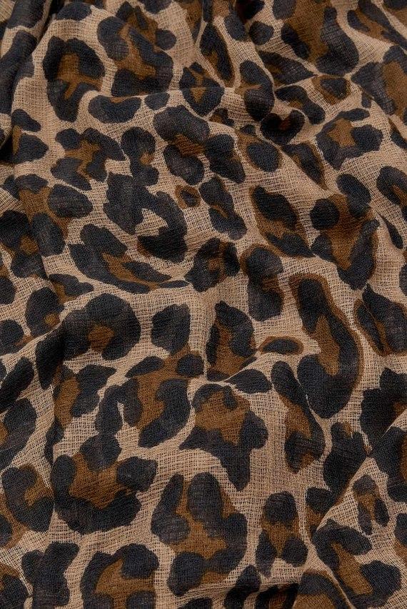 Женский коричневый шарф RETRO LEOPARD STOLE