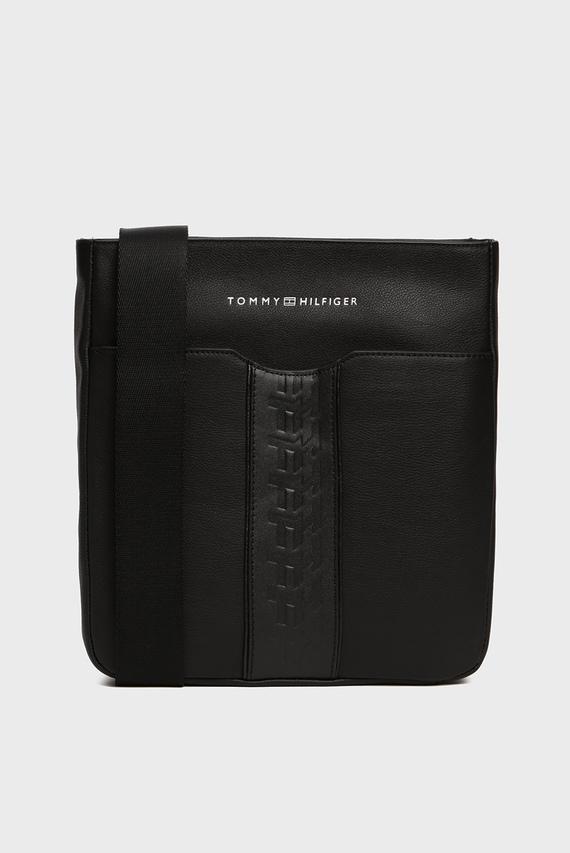 Мужская черная кожаная сумка через плечо