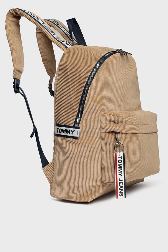 Мужской бежевый вельветовый рюкзак TJM LOGO TAPE