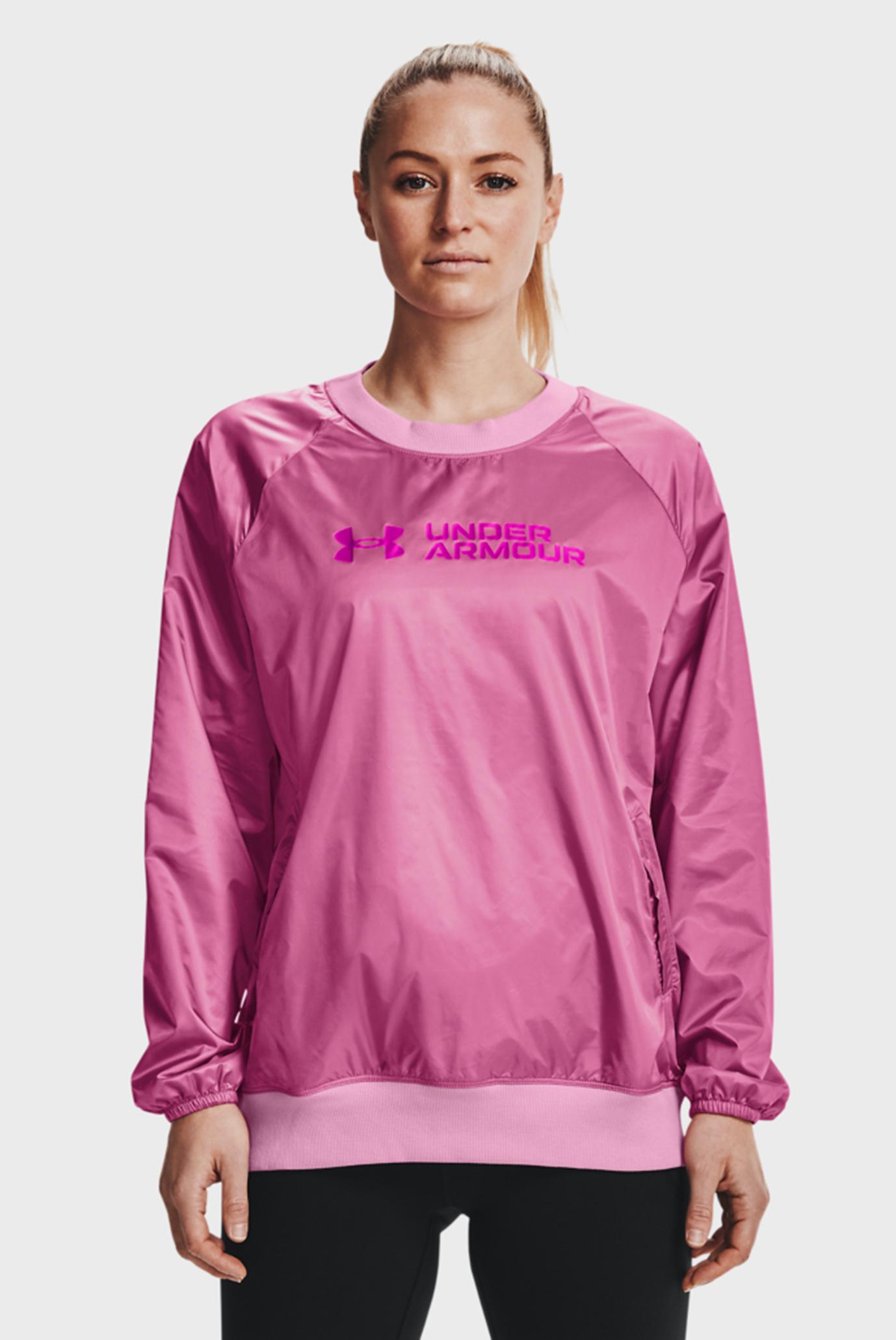 Женский розовый свитшот UA Recover Woven Shine Crew 1