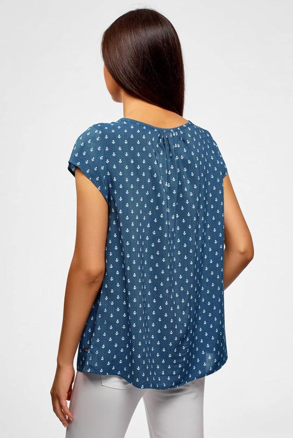 Женская синяя блуза с принтом
