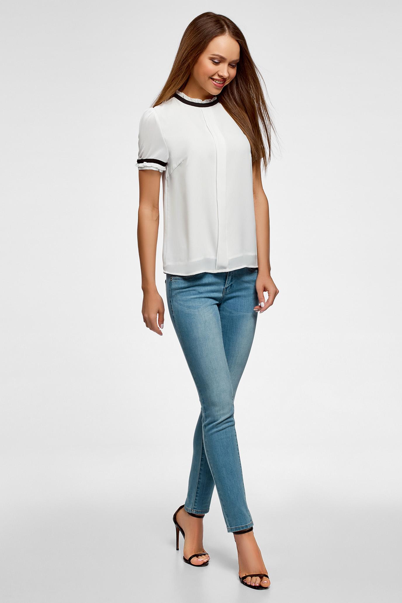 Купить Женская белая блуза Oodji Oodji 11401272/36215/1200B – Киев, Украина. Цены в интернет магазине MD Fashion
