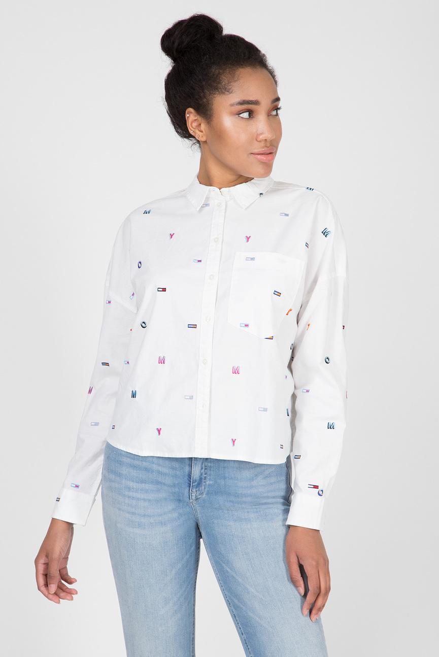 Женская белая укороченная рубашка TJW AOP