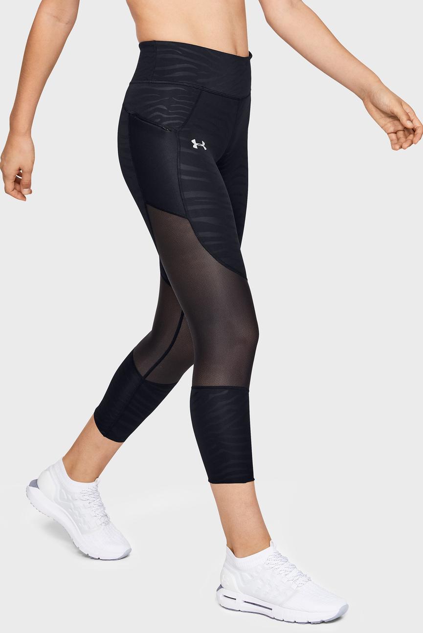 Женские черные леггинсы UA SpeedPocket Printed Run Crop