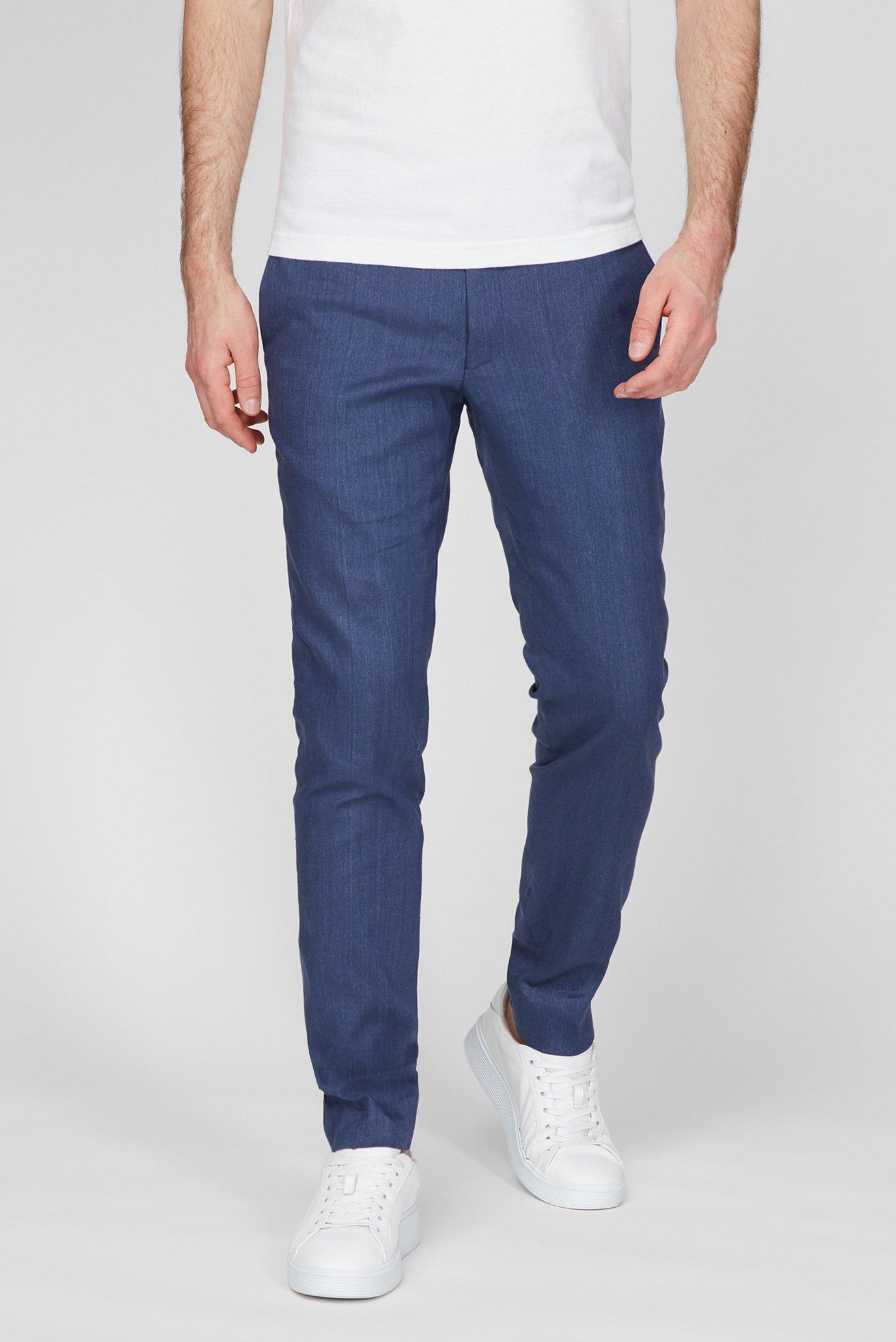 Мужские синие льняные брюки SLIM STRETCH 1