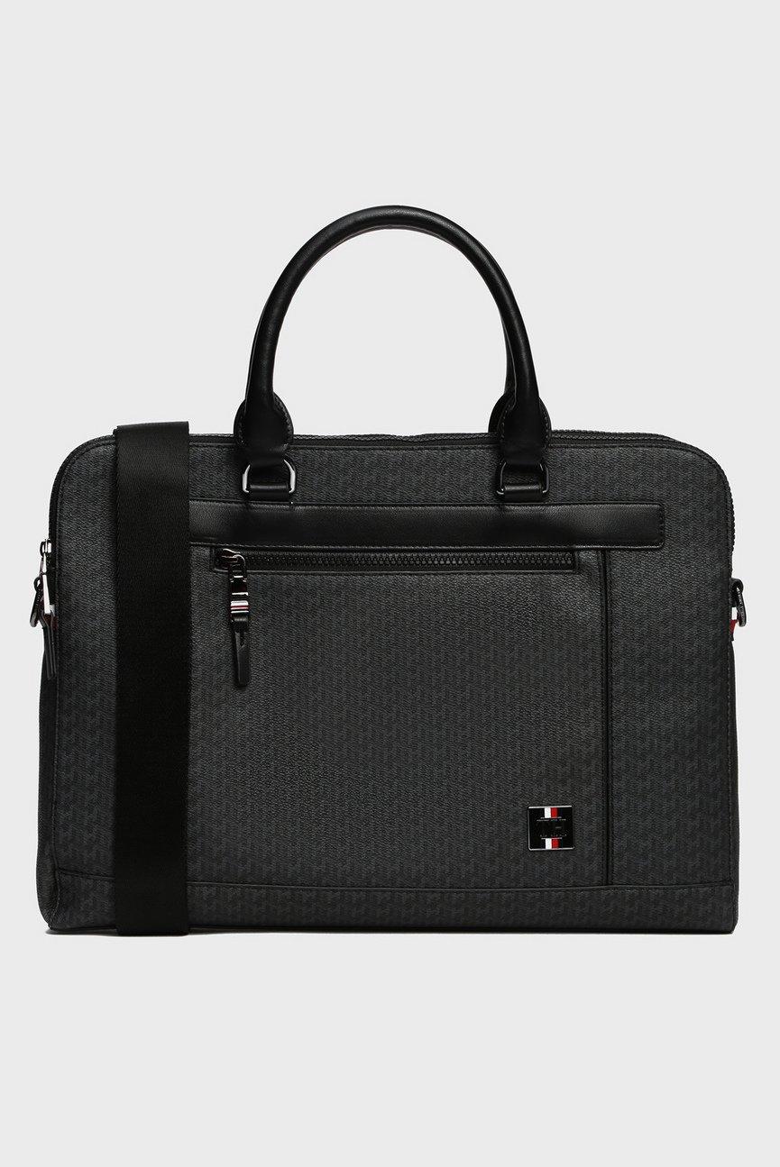 Мужская серая сумка для ноутбука COATED CANVAS SLIM MONO