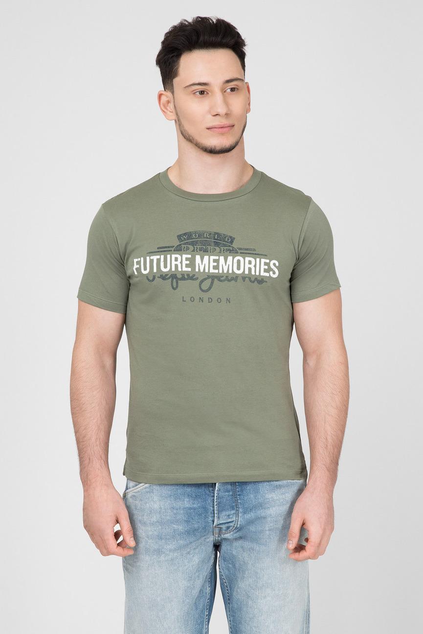 Мужская зеленая футболка с принтом LINTON