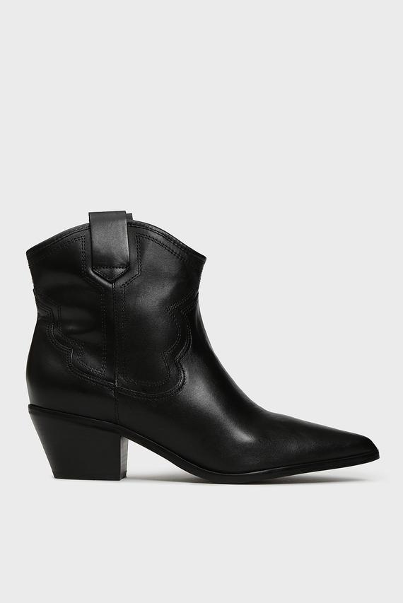 Женские черные кожаные казаки