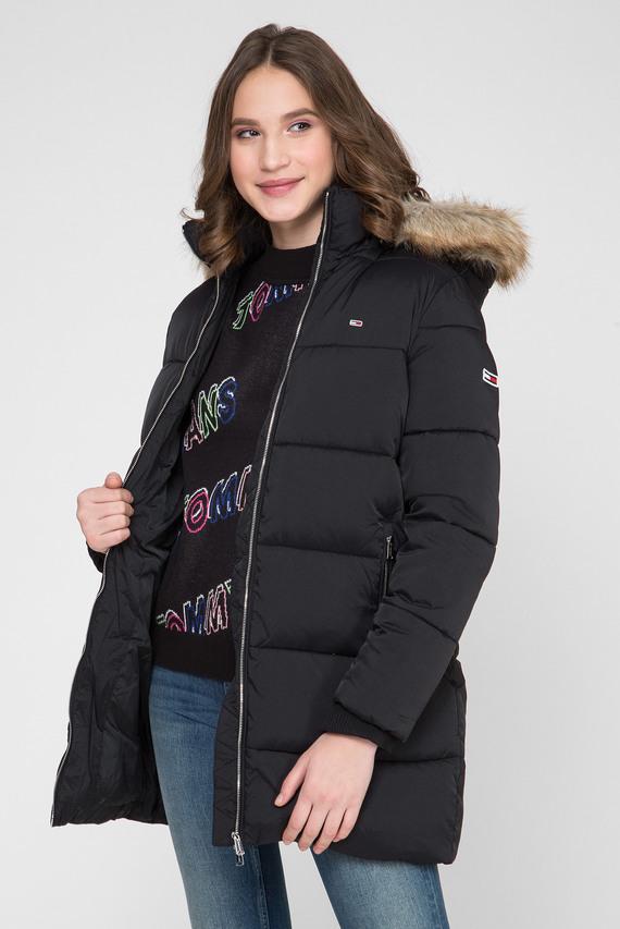 Женская черная удлиненная куртка TJW MODERN