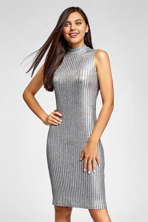 Женское серебристое платье