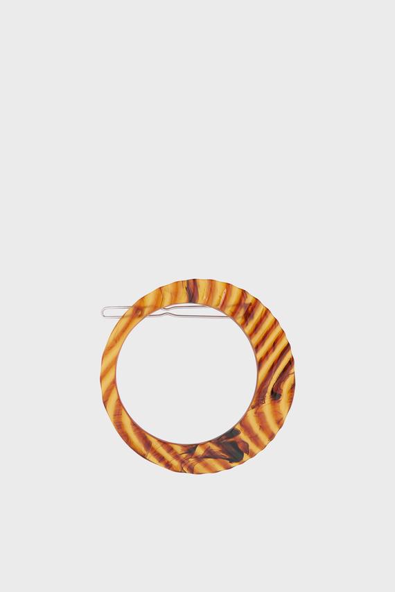 Женская коричневая заколка OPEN RESIN CIRCLE CL