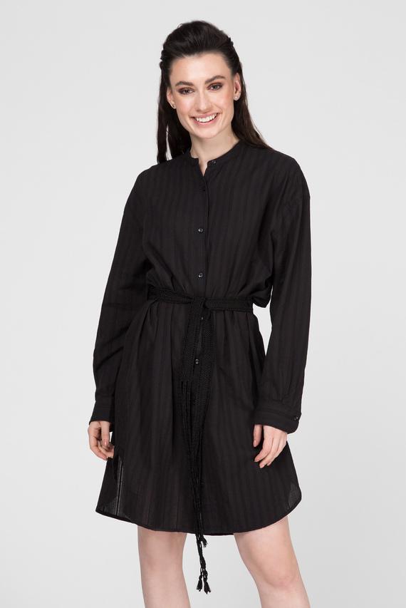 Женское черное платье-рубашка