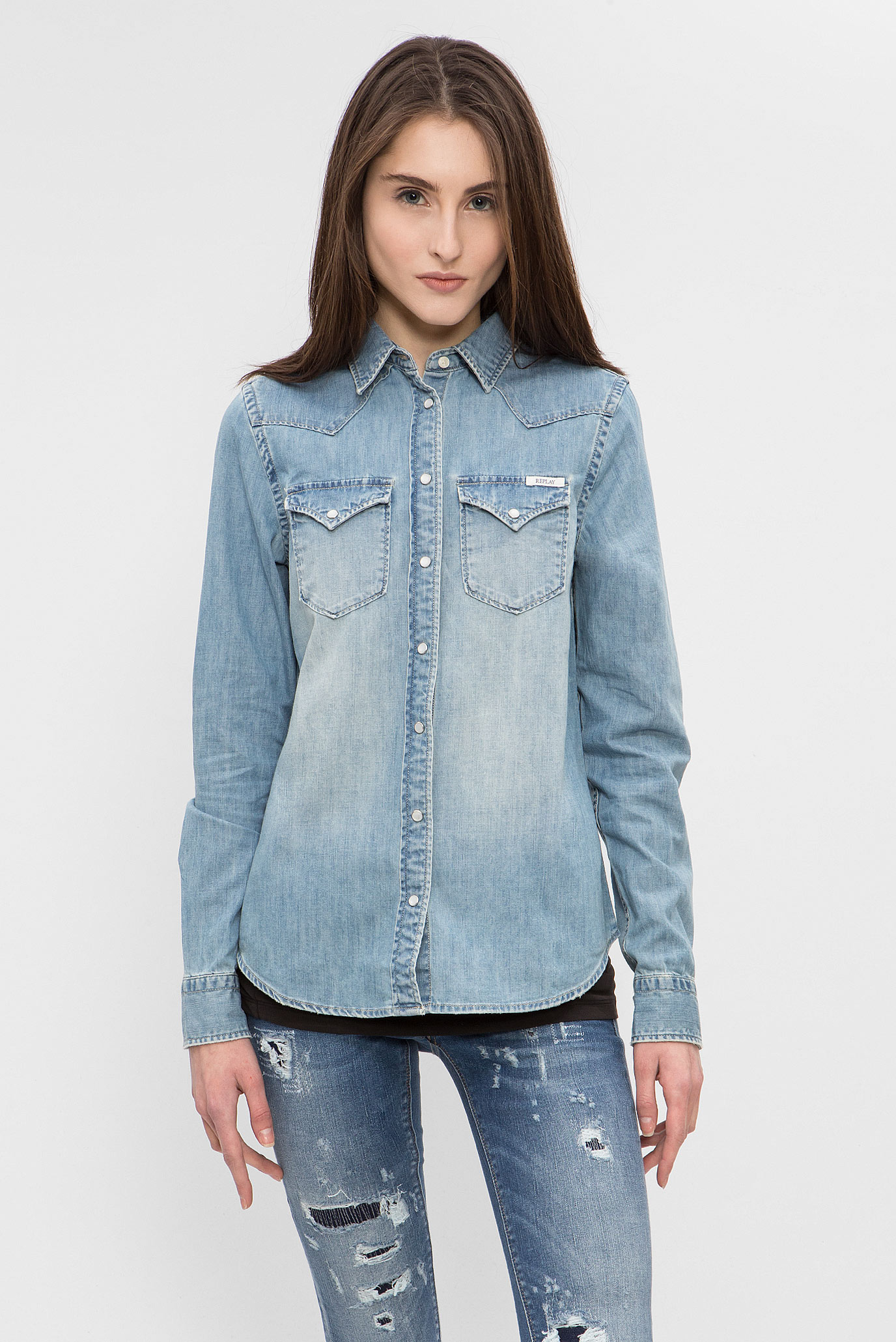 f849652ba51 Купить Женская голубая джинсовая рубашка Replay Replay W2987 .000.26C 294 –  Киев