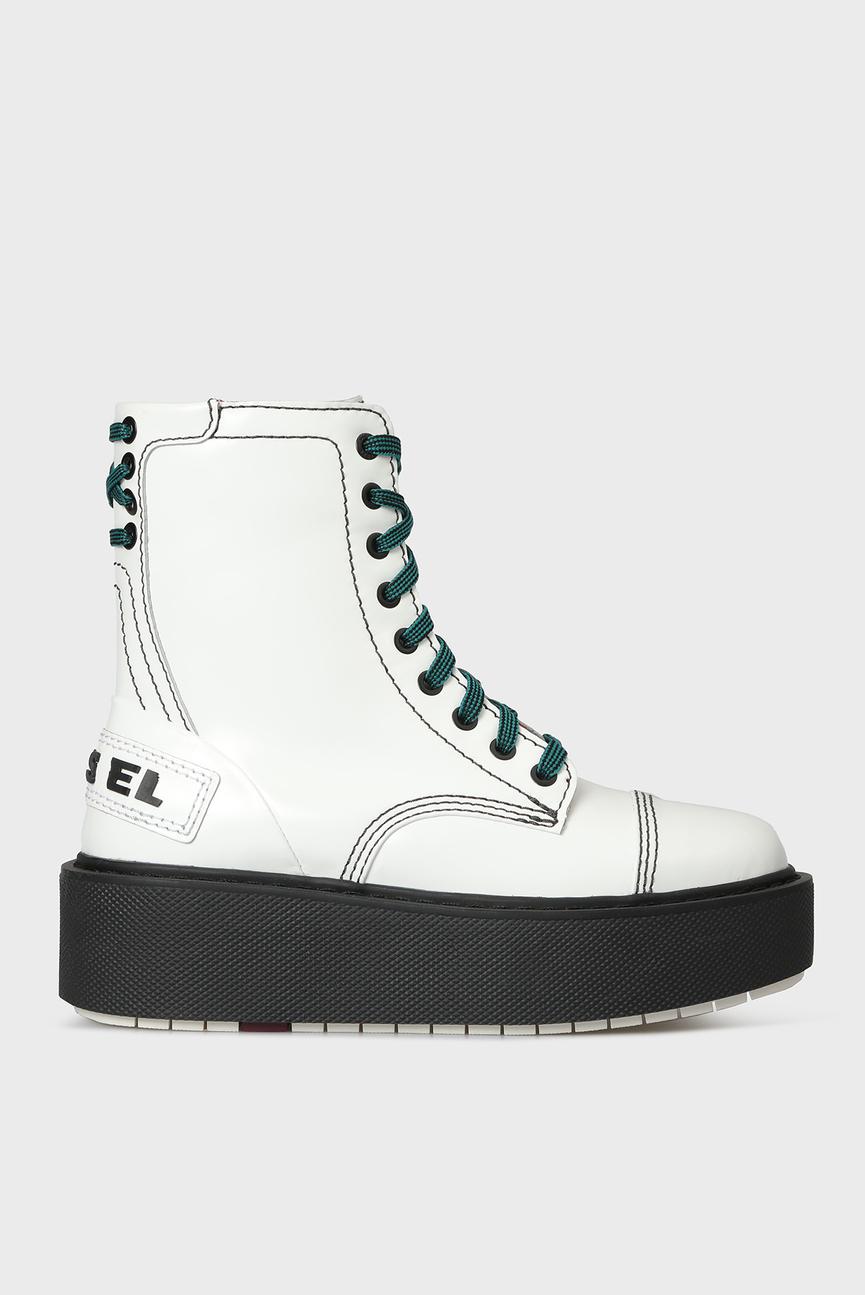 Женские белые кожаные ботинки D-CAGE HB