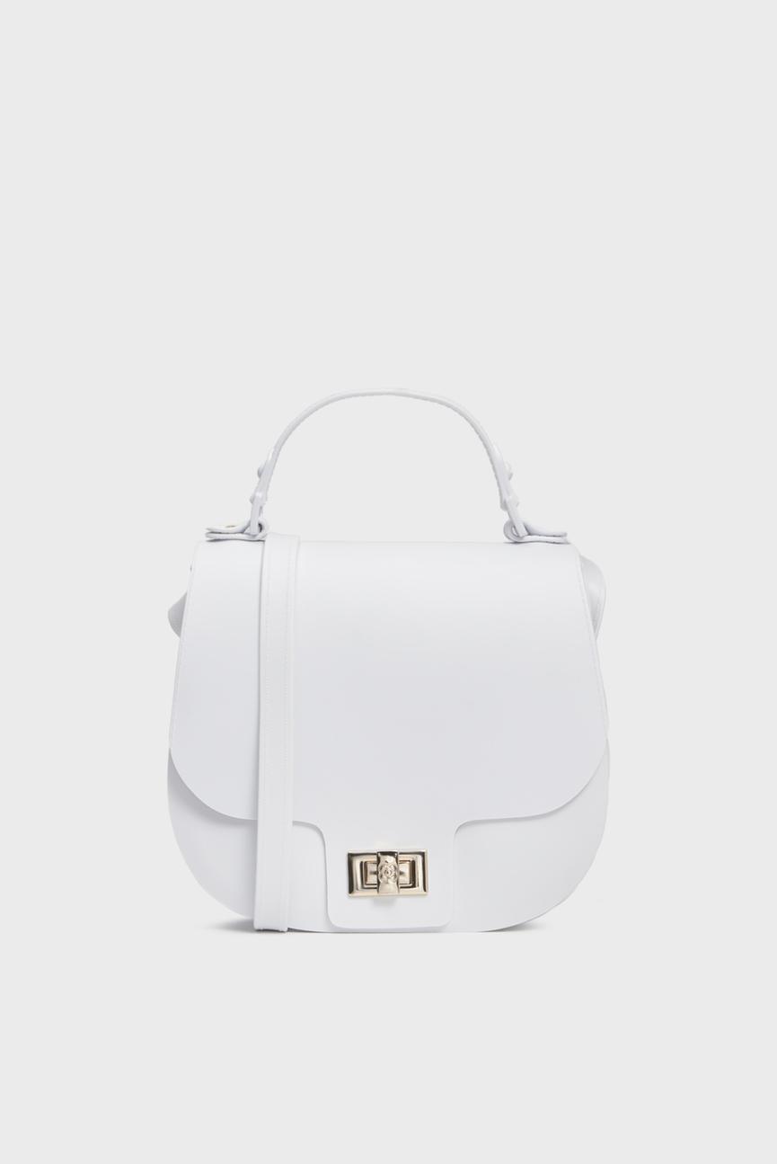 Женская белая сумка через плечо SADDLE BAG